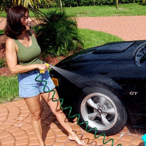 Coiled Garden Water Hose Car Wash